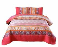 92''x88'&# 039; 100% Cotton 3-Piece Multicolored Boho Full/Queen Size Quilt Set