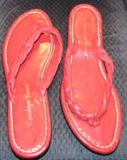 Women's Size 8 Carriage Court Sandals Braided Red Leather Flip Flop Shoes Thong