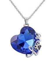 Collier coeur bleu cristal autrichien écrit love + motif patte animal + boite.