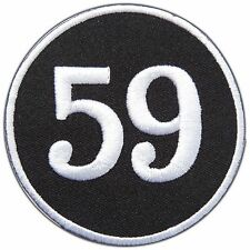 Number 59 Fifty Nine Ball Circle Biker Motorcycle Funny Joke Iron On Patch #B007