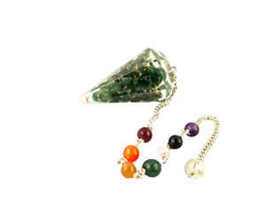 Exquisite Green Mica Orgone Pendulum 2 inch Free Crystal Therapy Booklet