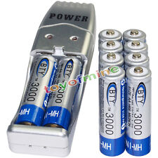 10x AA battery batteries Bulk Rechargeable NI-MH 3000mAh 1.2V BTY + USB Charger
