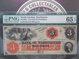 1850's $3 Bank of Washington North Carolina Three Dollar Note PMG 65 EPQ GEM #MB