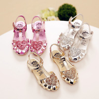 New Girls Baby Sequins Heart Princess Shoes Party Dress Kid Summer Shoes