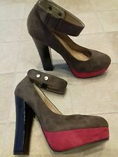 faux suede high block heeled shoes BNWOTs 6 (39)