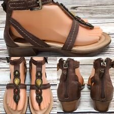 Womens EARTH 'Paprika' Brown Thong Gladiator Sandals w/ Stones SIZE 7.5 B