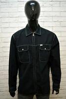Camicia con Zip Nera GAS Uomo Taglia 2XL Maglia Manica Lunga Shirt Man Black
