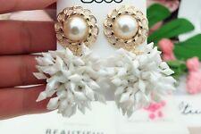New White Pearl Spikey Statement Drop Dangle Stud Earrings UK