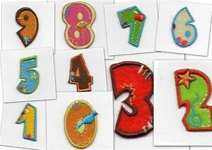 Colourful Iron-On Number Motifs, Patches,Toppers