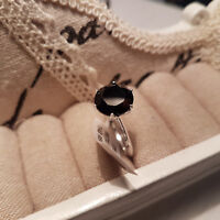 Beautiful Boi Ploi Black Spinel Solitaire ring in Sterling silver