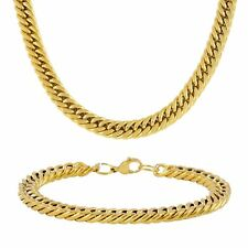 Stainless Steel 18 Karat Gold Plated 6mm Miami Cuban Chain Bracelet Neclace Set