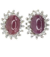 Cubic Zirconia Ruby Fine Earrings