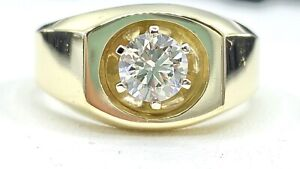 .67 ct natural DIAMOND mens solitaire pinky ring 14k yellow GOLD ( SEE VIDEO)