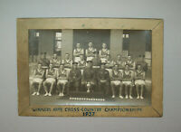 Old Vtg Dated 1937 Wood Framed Photo Winners Army Cross Country Champions Nice