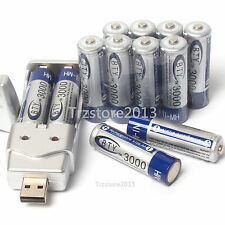 Pro 12pcs AA 1.2V 3000mAh Ni-MH BTY Rechargeable Battery Cell+AA AAA USB Charger