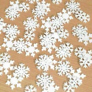 20 Streuteile Holz Schneeflocke weiß Streudeko Weihnachten Winter Eiskristalle
