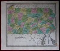 Pennsylvania state map c.1842 rare J. Greenleaf