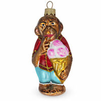 Monkey with Ice Cream Glass Christmas Ornament