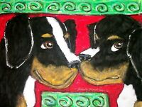 Bernese Mountain Dog Love Original Painting 9x12 Vintage Style Art KSams Artist