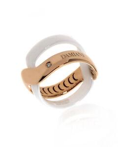 Damiani Abbracio 18k Rose Gold And Ceramic Diamond 0.011ct Ring Sz 7.5 20063598
