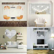 UK Stock 100pcs Mirror Stickers Tile Wall Decals DIY 3D Mosaic Room Art Stick On