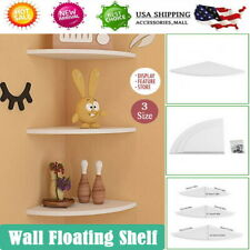 White 3PCS Corner Floating Wall Mount Shelves Storage Rack Display Home Decor US