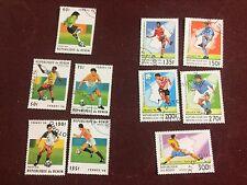 République du Bénin - Republik Benin = 10 Marken  WM FUSSBALL 1998 gestempelt