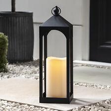 Schwarze Metall Laterne 50cm mit Warmweißer LED Kerze Batterie Timer Lights4fun