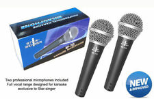 PAIR OF KARAOKE MICROPHONES WITH JACK CABLES FOR ALL KARAOKE MACHINES
