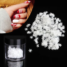 3D Glitter White Snowflakes Nail Sequins Paillettes Christmas Nail Art Stickers