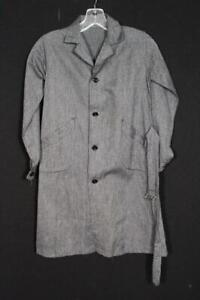 CHILD'S VINTAGE DEADSTOCK 1940'S-50'S FRENCH DARK GREY COTTON WORK COAT SIZE 10