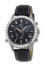 ETT Eco Tech Time GPS Cuarzo Hora Universal Reloj Titan Análogo con Cuero