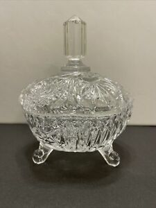 Heavy Crystal 3 Toed Candy Dish with Lid