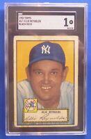 ALLIE REYNOLDS New York Yankees vintage 1952 Topps #67 black back SGC Graded: 1