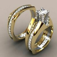 14K Solid Yellow Gold White Sapphire Ring Set Wedding Women Men's Jewelry Sz5-11