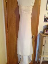 Wedding gown long summer romantic elegant off white David Bridal's size 8-9