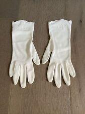 Vintage Off White 100 Nylon Wrist Length Cocktail Gloves Size 7