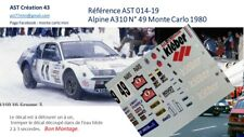 NEW DECAL 1 43 RENAULT ALPINE A 310  N°49 MENY RALLY WRC MONTE CARLO 1980