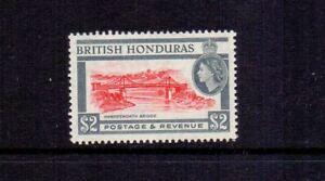 BRITISH HONDURAS 1953 $2 SCARLET & GREY SG189 MNH
