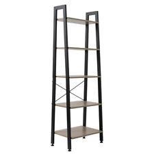 5 Tier Heavy Duty Metal Leaning Ladder Shelf Bookcase Bookshelf Storage Shelves