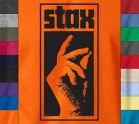 STAX HAND LOGO T-Shirt Soul Funk Breaks Motown Label Records Ringspun Cotton Tee