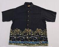 Caribbean Hawaiian Camp Shirt Men's Size Large Button Front Aloha Silk Blend