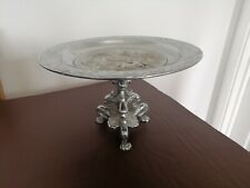 More details for victorian chrome plated 3 claw footed tazza/ cake /stand