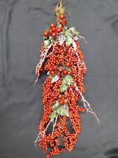 Christmas Decoration Artificial Red Berry Holly Silver Twig Swag Indoor 60cm