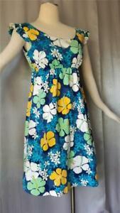 BOHO HAWAIIAN FLORAL COTTON PRINT vintage 1960s Mini Sun DRESS - LRG