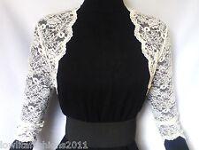 Womens Ivory/White Lace Wedding 3/4 sleeve Bolero, Jacket Sizes  16 & 18 UK