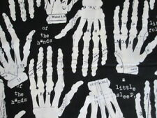 HANDS KIDS SKELETONS BONES WHITE BLACK COTTON FABRIC FQ