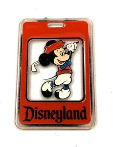 Vintage Walt Disney Productions Golf Bag Plastic Tag Red Mickey Mouse