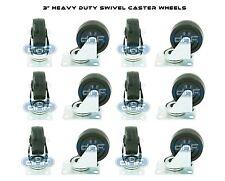 """12 PACK 3"""" SWIVEL CASTER RUBBER WHEELS TOP PLATE BEARING HEAVY DUTY (360)"""