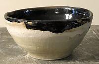 "Vintage Art Studio Pottery Stoneware Bowl 5"" BROWN GLAZED ON TAN Signed CM"